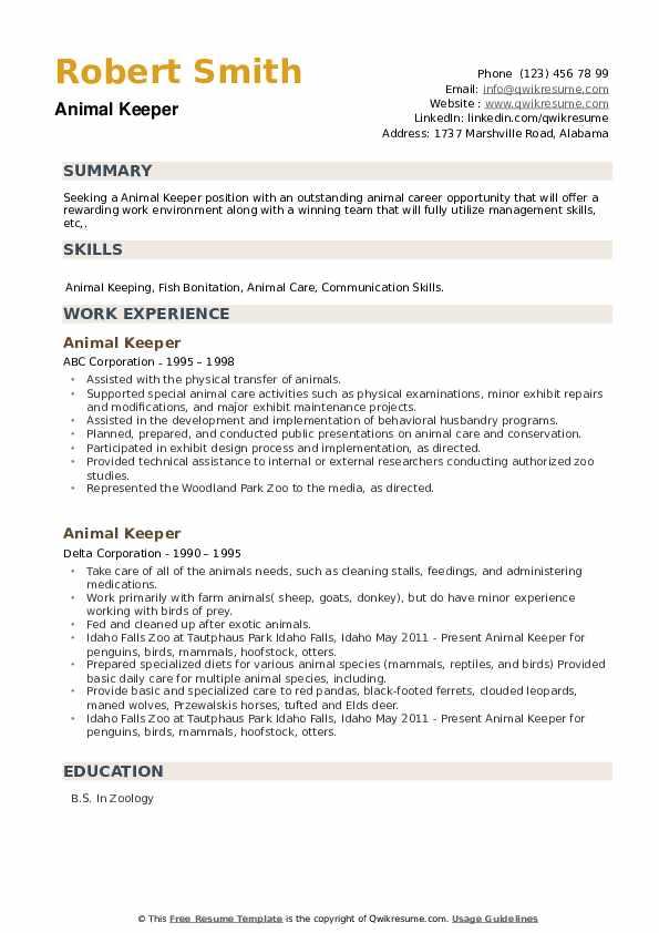 Animal Keeper Resume example