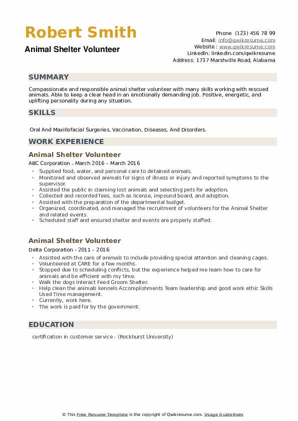 Animal Shelter Volunteer Resume example