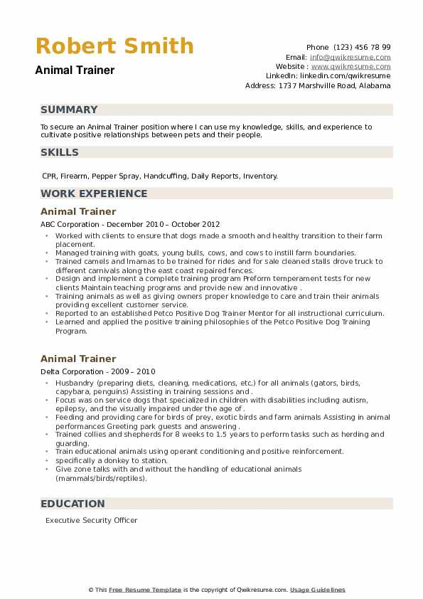 Animal Trainer Resume example