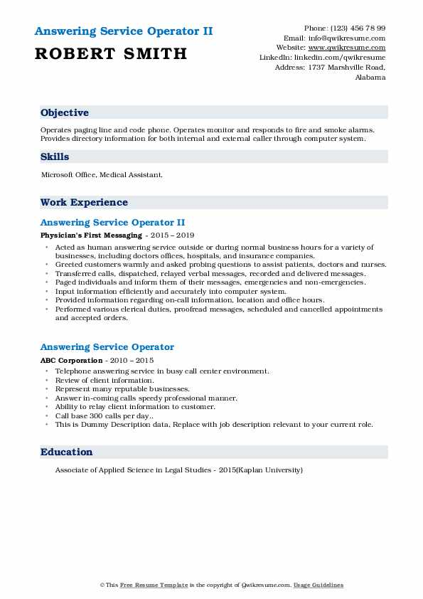 resume words for answering phones
