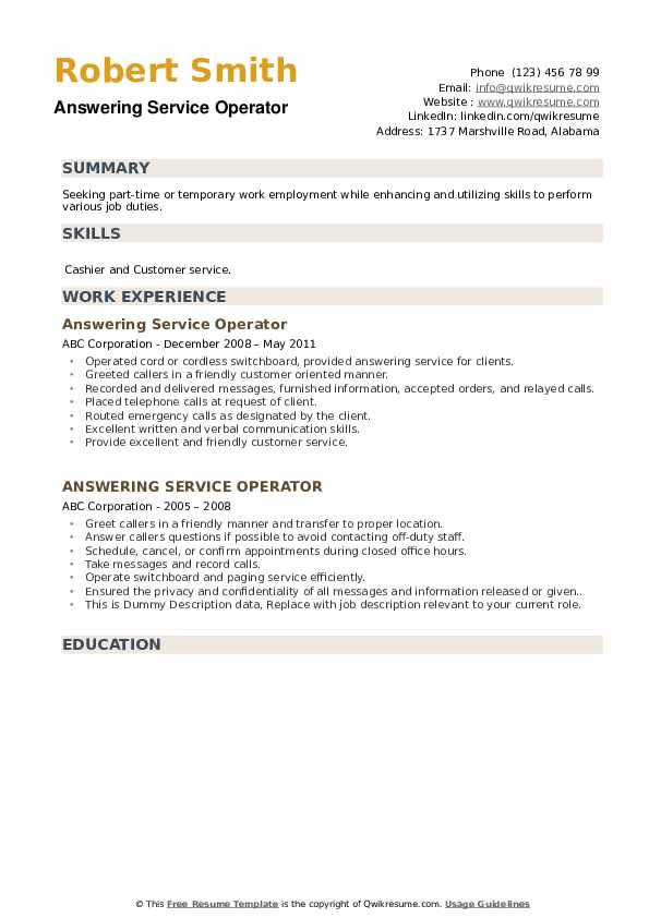 Answering Service Operator Resume example