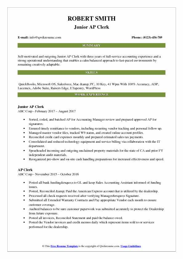 Junior AP Clerk Resume Model