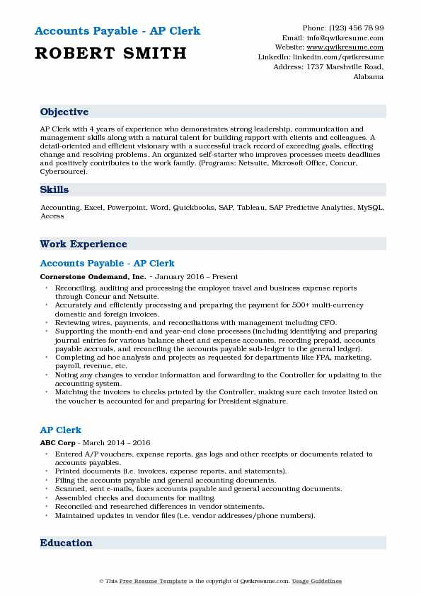 Accounts Payable - AP Clerk Resume Example