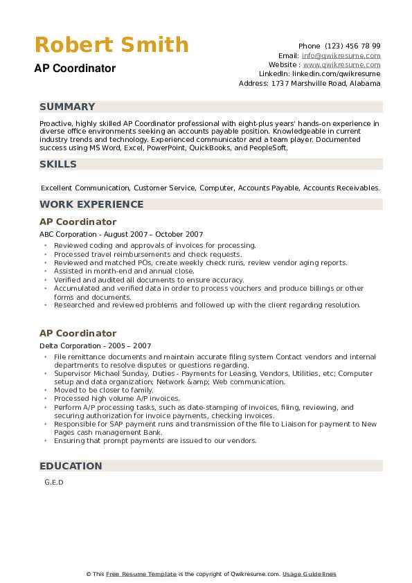 AP Coordinator Resume example