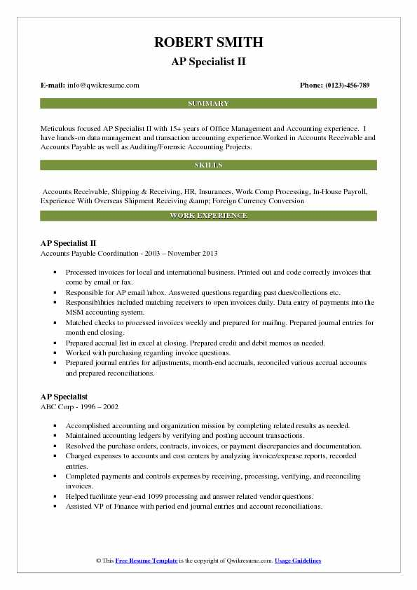 AP Specialist II Resume Model