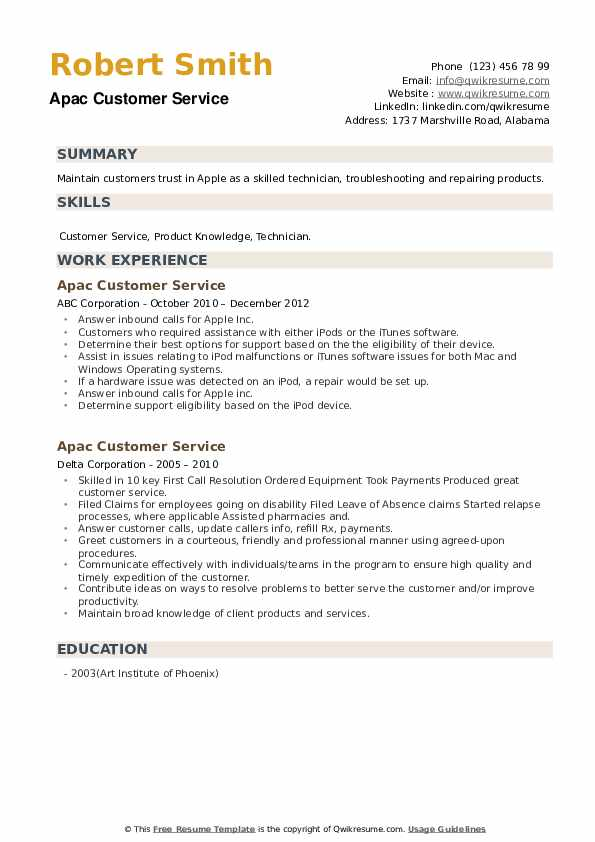 Apac Customer Service Resume example