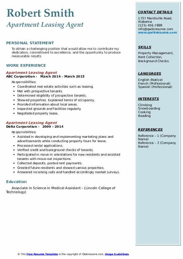 apartment leasing agent resume samples  qwikresume