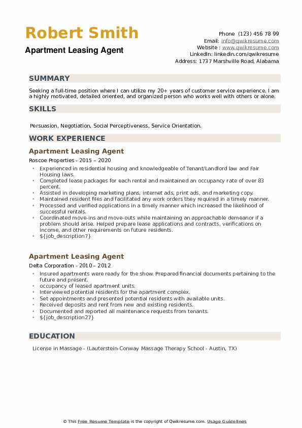 Apartment Leasing Agent Resume example