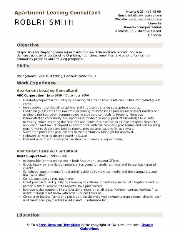 apartment leasing consultant resume samples  qwikresume