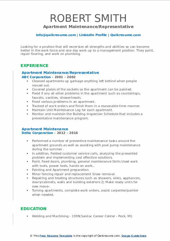 apartment maintenance resume samples  qwikresume