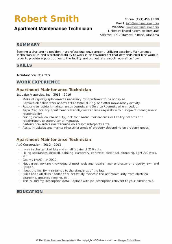 apartment maintenance technician resume samples