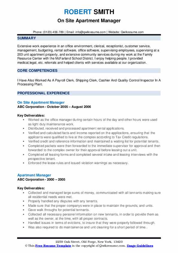 On Site Apartment Manager Resume Sample