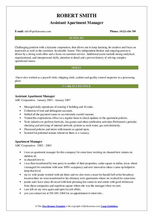 Assistant Apartment Manager Resume Template