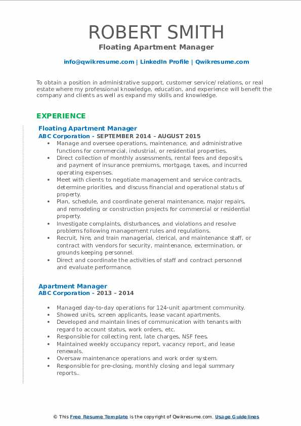 Floating Apartment Manager Resume Example