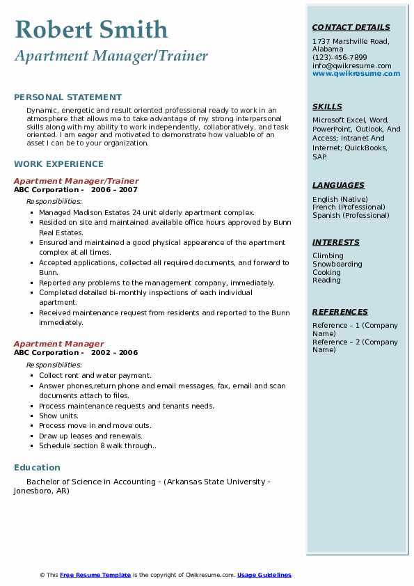 Apartment Manager/Trainer Resume Template