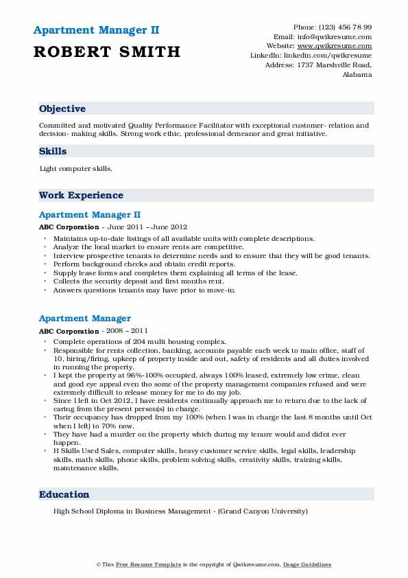 Apartment Manager II Resume Format