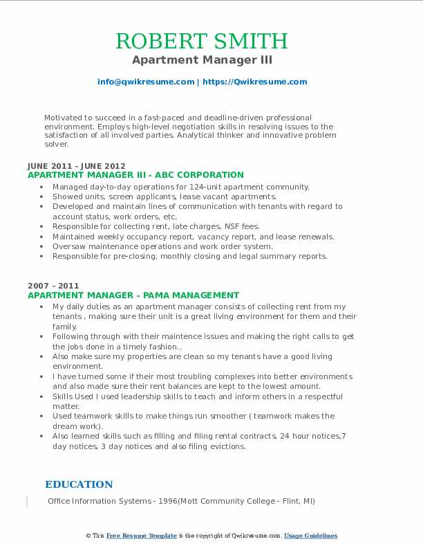 Apartment Manager III Resume Model