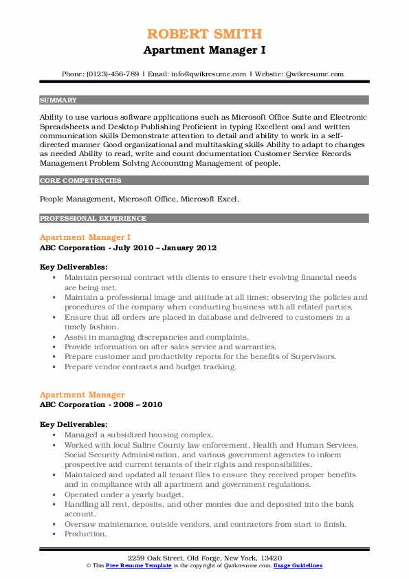 Apartment Manager I Resume Example