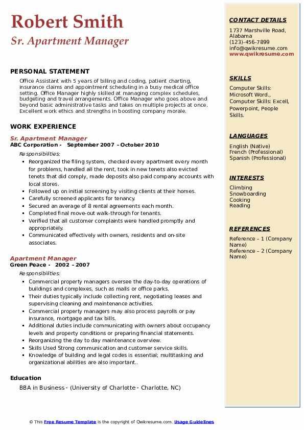 Sr. Apartment Manager Resume Model