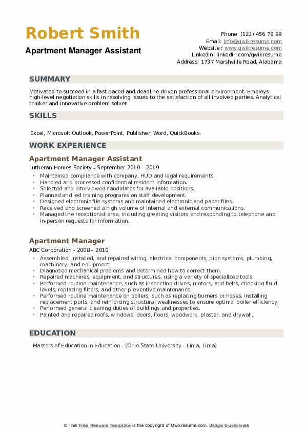 Apartment Manager Assistant Resume Model