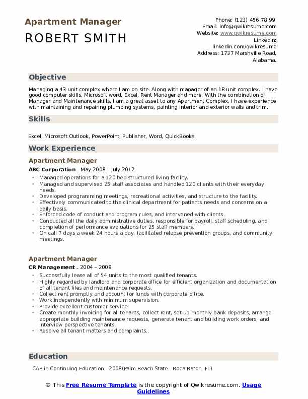 Apartment Manager Resume example