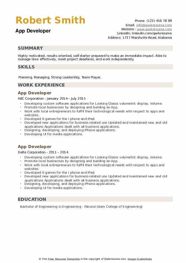 App Developer Resume example