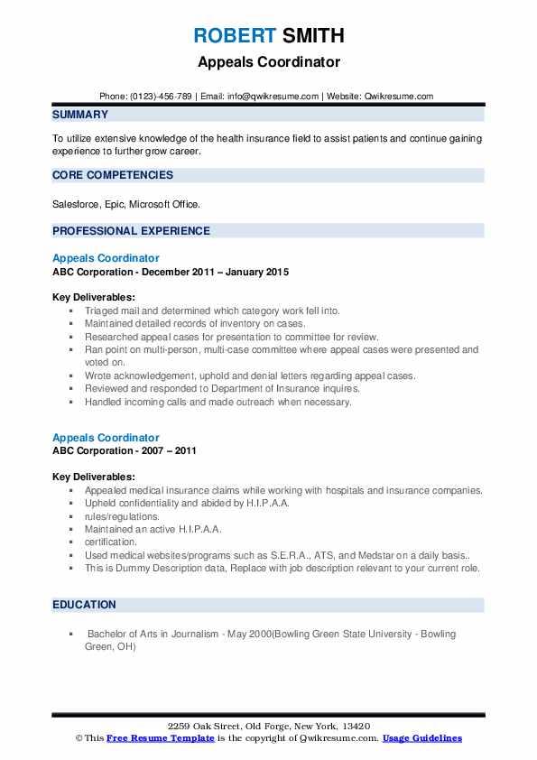 Appeals Coordinator Resume example