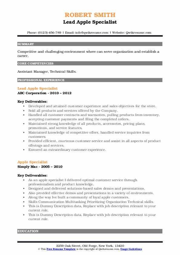 apple objective resume