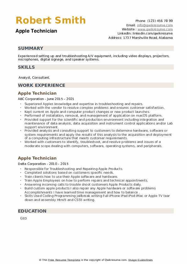 Apple Technician Resume example
