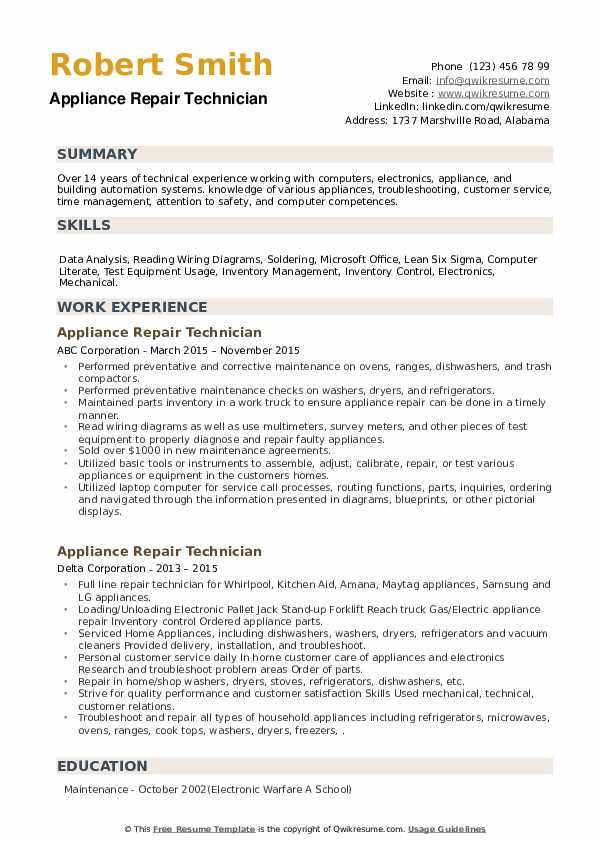 Appliance Repair Technician Resume example