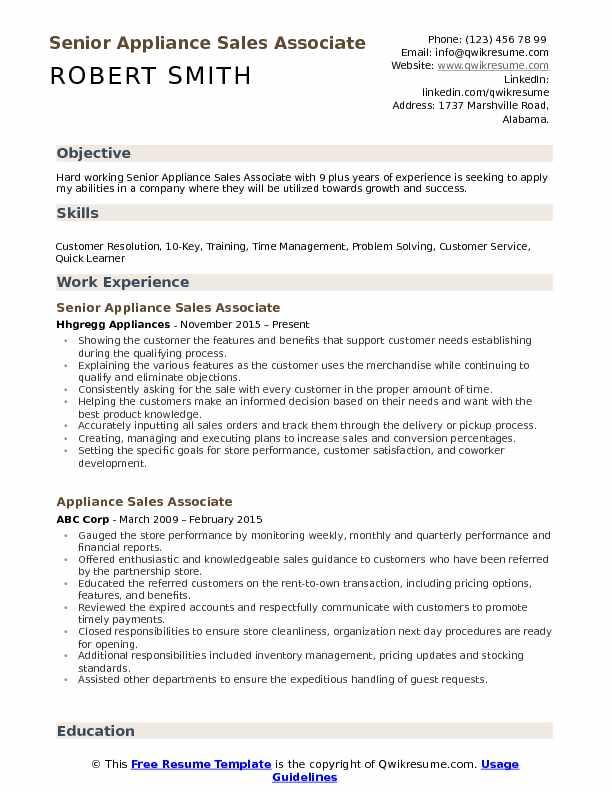 Senior Appliance Sales Associate Resume Model