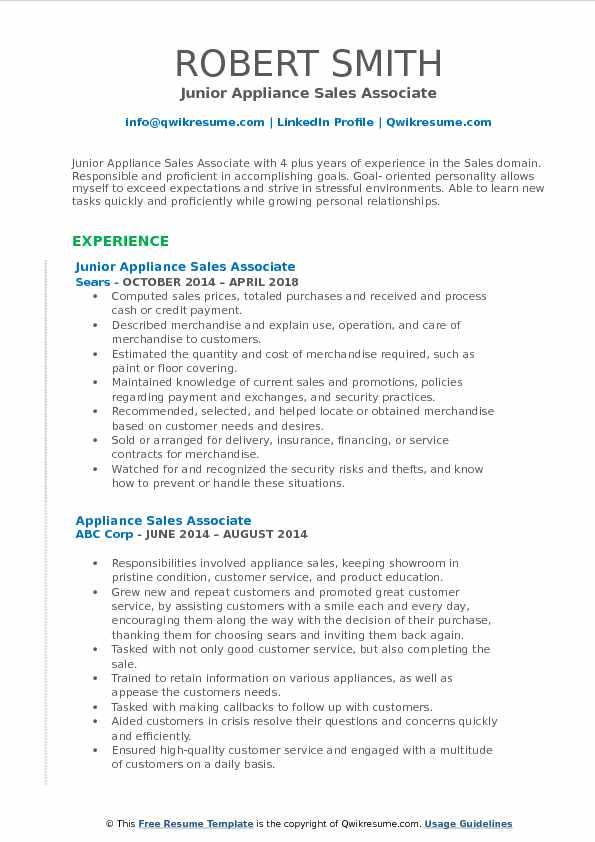 Junior Appliance Sales Associate Resume Example