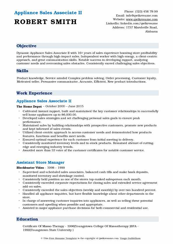 Appliance Sales Associate II Resume Template