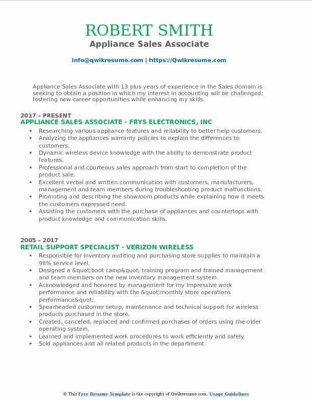 Appliance Sales Associate Resume Format