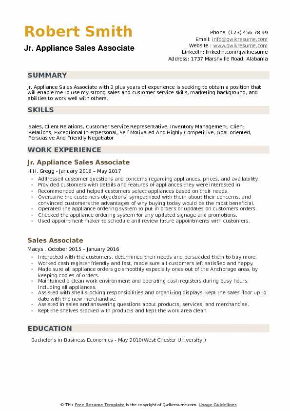 Jr Appliance Sales Associate Resume Format