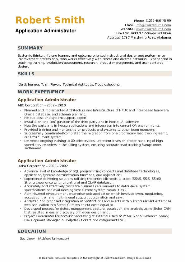 Application Administrator Resume example