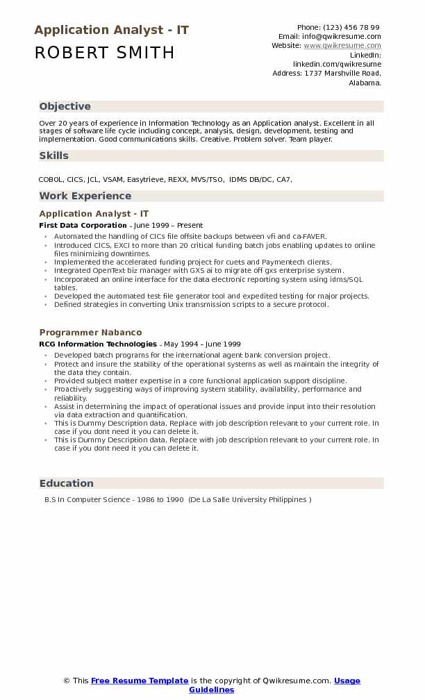 application analyst resume samples qwikresume