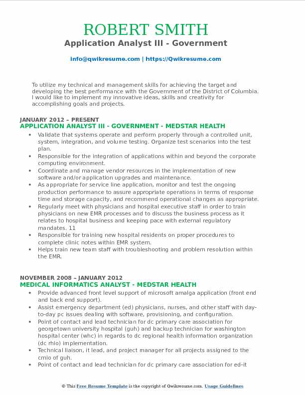 Application Analyst III - Government Resume Format