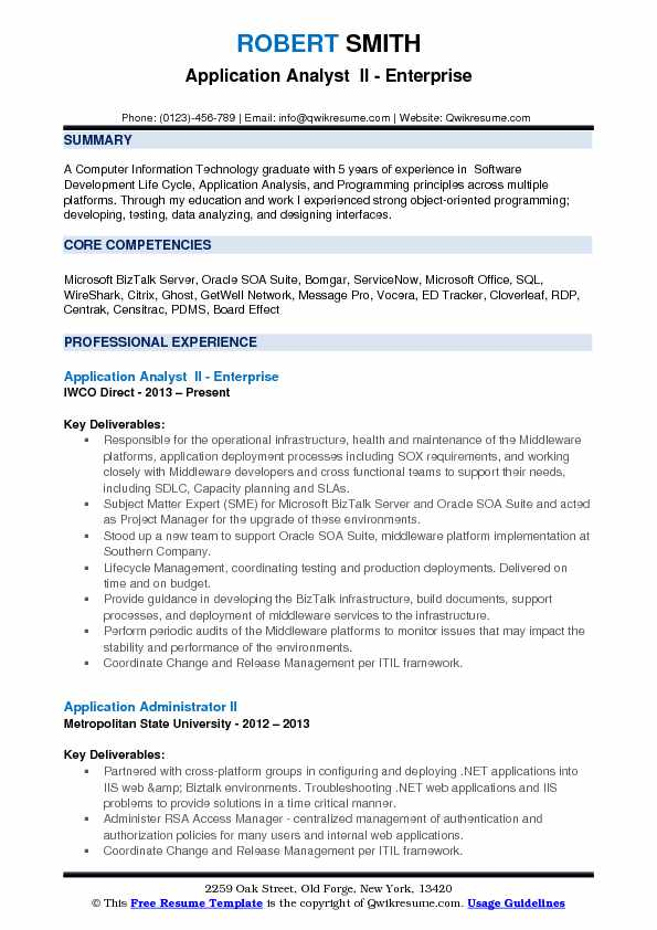 application analyst resume samples