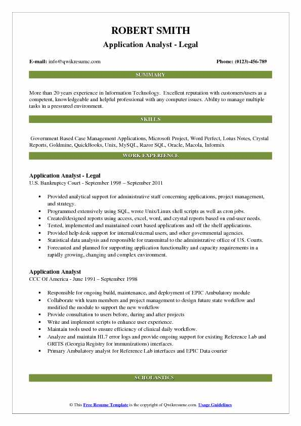 Application Analyst Resume Samples | QwikResume