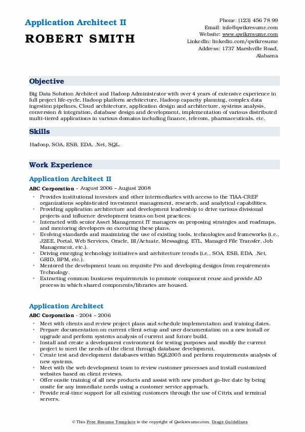 application architect resume samples