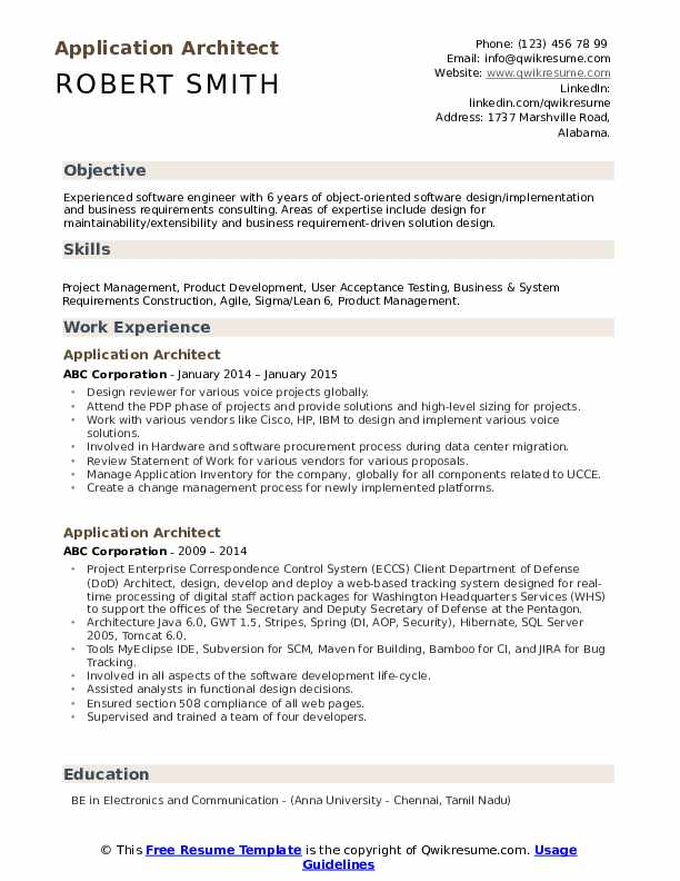 Application Architect Resume Samples