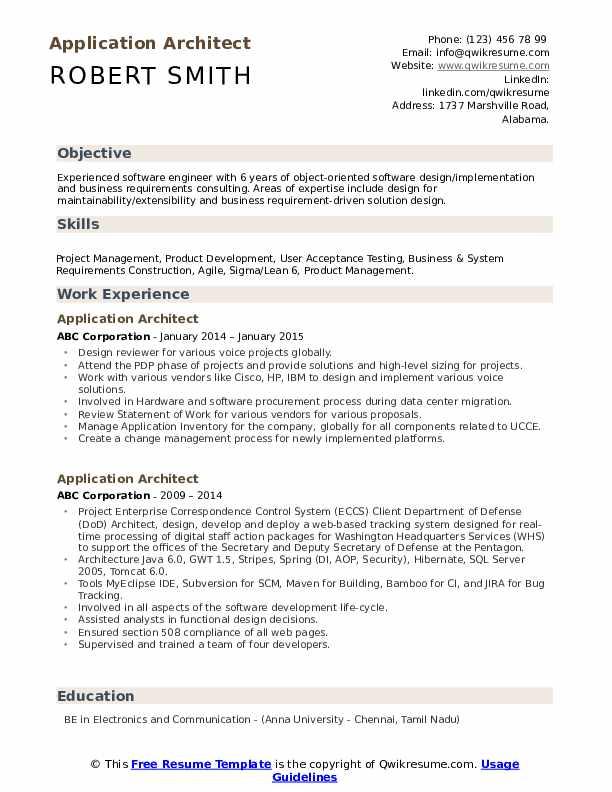 Application Architect Resume example