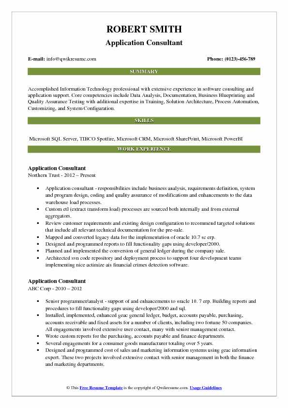 Application Consultant Resume Format