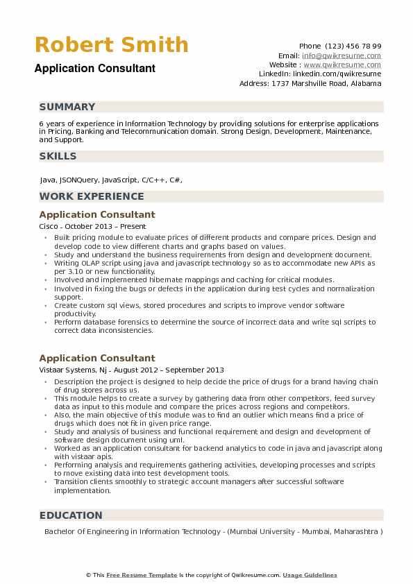 application consultant resume samples