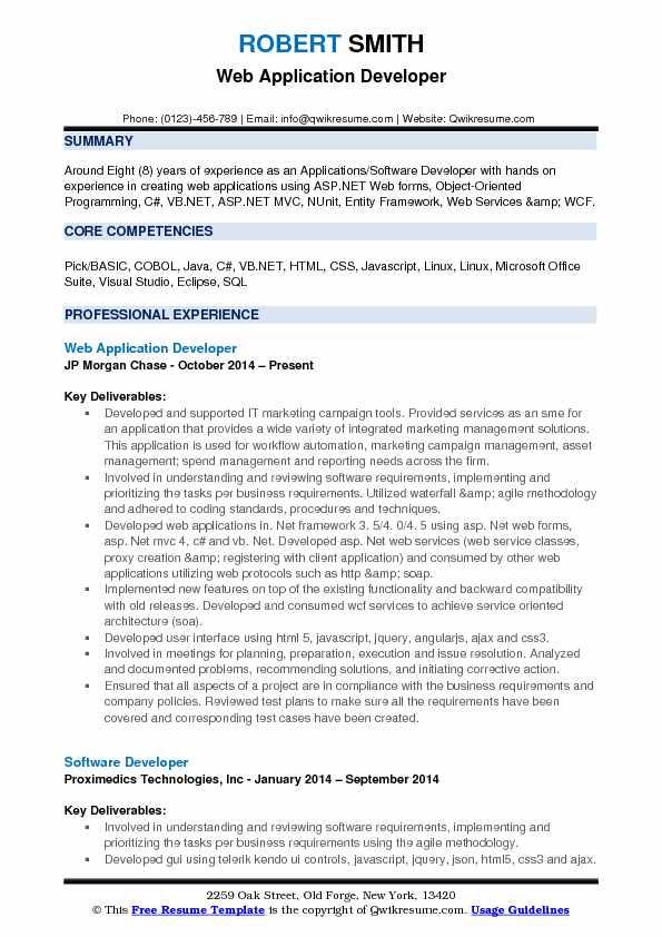 application developer resume samples qwikresume