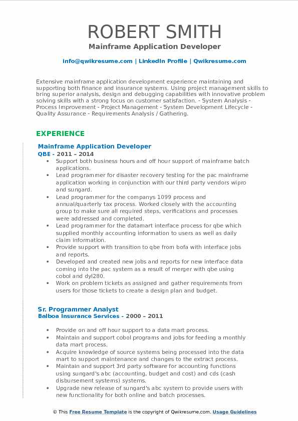 application developer resume samples
