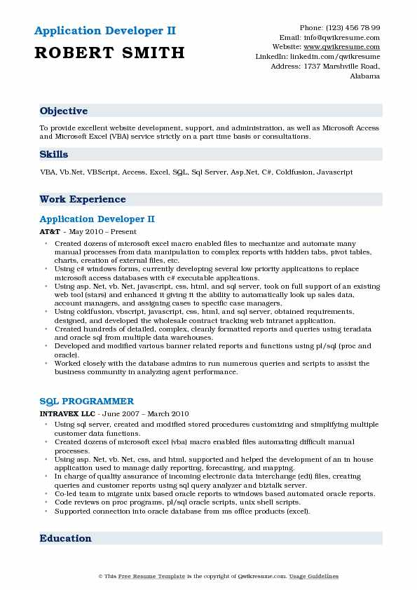 Application Developer II Resume Format