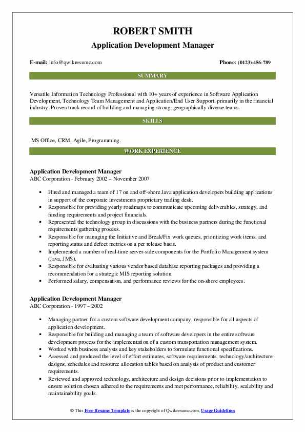 Application Development Manager Resume example