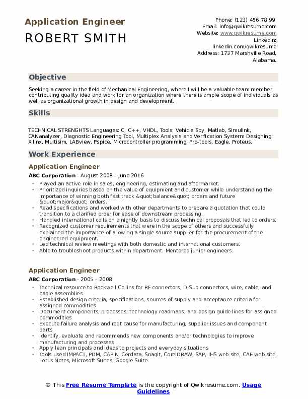 Application Engineer Resume Model